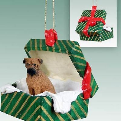 BULLMASTIFF Bull Mastiff Dog Green Gift Box Holiday Christmas ORNAMENT