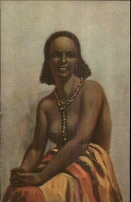 Nude Black Woman & Necklace - African? c1920 Postcard