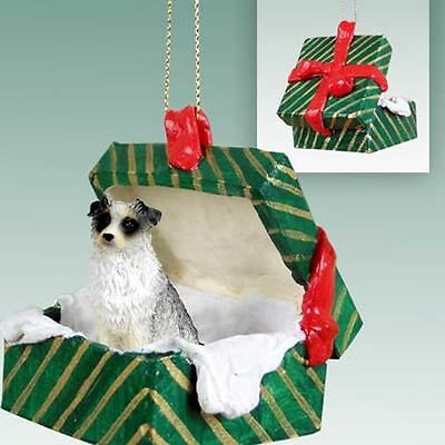 Australian Shepherd Blue Dog Green Gift Box Holiday Christmas ORNAMENT