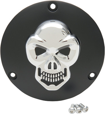 Drag Specialties Black 3-D Skull 3 Hole Derby Cover 69-99 Harley Big Twin