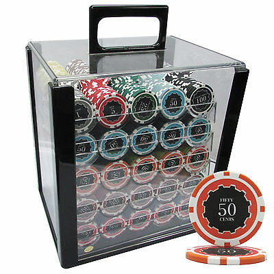 1000 14G Eclipse Casino Clay Poker Chips Set Acrylic Case