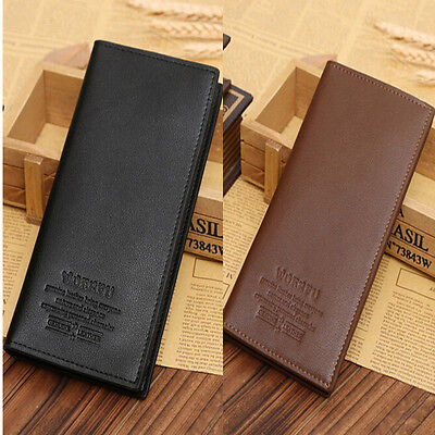 Fashion Mens Bifold Leather Long Wallet Pockets Card Clutch Cente Casual Purse