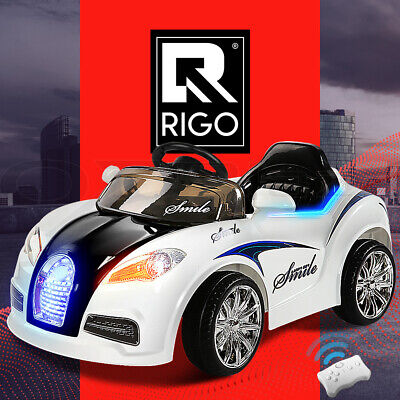 RIGO Kids Ride-On Car Bugatti Style Sports Electric Tos Remote Battery 12V White