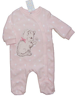 Baby Girls Fleecy Sleepsuit Babygrow Pink Kitten Design Up to 1M 3M 6-9M 9-12M