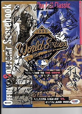 1995 World Series Program Autograph by 30 Atlanta Braves Players Glavin, Maddux