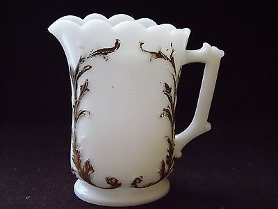 Small Vintage White Milk Glass Heavy Gold Scroll Trim Pitcher 5 Inches Tall