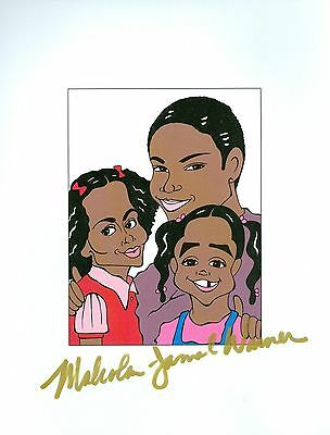 "MALCOLM JAMAL WARNER ""Theo"" Crosby Show Signed Auto 8.5x11 Cartoon Autograph a"