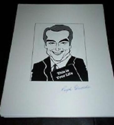 RALPH EDWARDS, RIP This Is Your Life 50s TV Show Signed 8.5x11 Cartoon Autograph