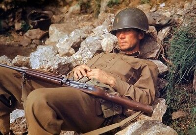 8 x 10 COLOR WW2 Photo WWII US Army Soldier M1 Carbine Rome 1944 / 1219 8x10