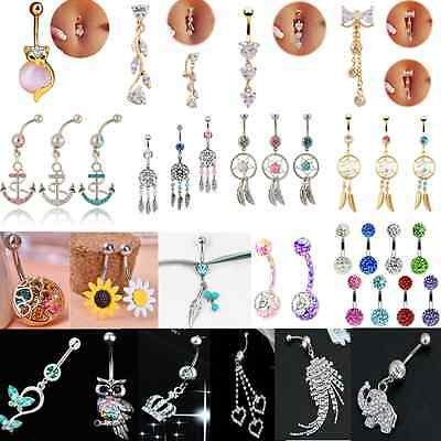 Rhinestone Dangle Ball Barbell Bar Belly Button Navel Ring Body Piercing Jewelry