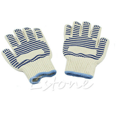 1 Pair Oven Mitt Cooking Glove Heat Proof Non-slip Hand Protective Kitchen Tool
