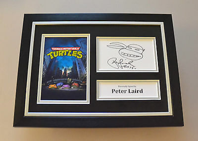 Peter Laird Signed A4 Photo Framed Teenage Mutant Hero Turtles Autograph Display