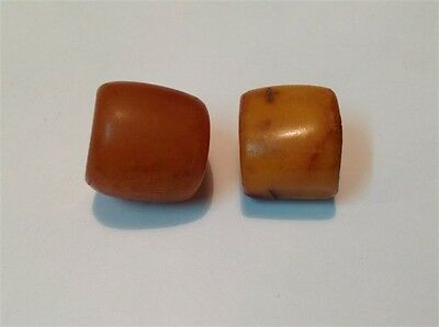 Antique two Chinese Butterscotch egg yolk Amber Baltic Beads 15.6 gram M708