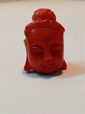 Antique Chinese natural pendant coral Buddha head hand carved (m997)