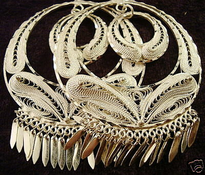 Taxco Mexican Sterling Silver Filigree Deco Hoop Dangle Earrings Mexico