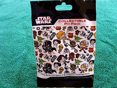Disney * STAR WARS CHARACTERS * New Sealed * 5-pin Collectible Mystery Pin Pack