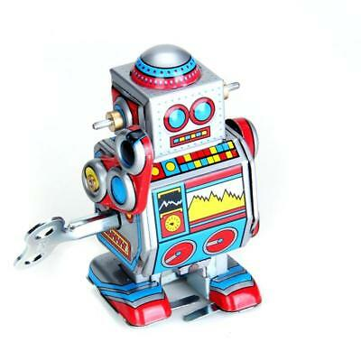 Vintage 1970s 80s Wind Up Walking Space Robot Mechanical Clockwork Tin Toy Gift