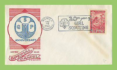 Phillipines 1960 20th Year of Girl Scouting slogan cancel cover