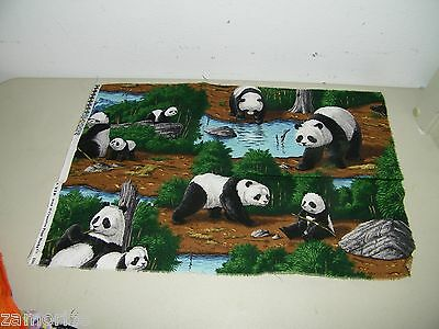 Panda Fabric Cotton Quilting 13 X 19 Inches 14971