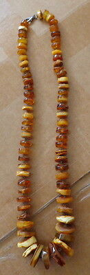 Antique Natural Butterscotch Egg Yolk  Baltic Amber Beads Necklace  #4