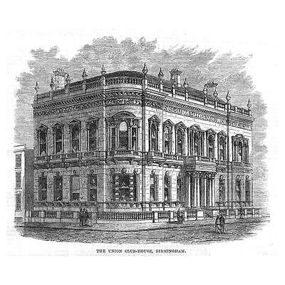 BIRMINGHAM The Union Club House - Antique Print 1869