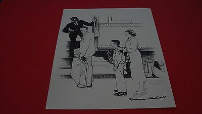 """Signed Norman Rockwell """"off To College"""" Mass Mutual Old Corner House"""