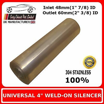 """4"""" x 10"""" Weld On Stainless Steel Silencer Exhaust Box Body, 48mm In - 60mm Out"""