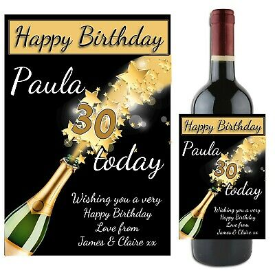 Personalised Happy 18th 21st 30th 40th Birthday Wine Champagne Bottle Label N66