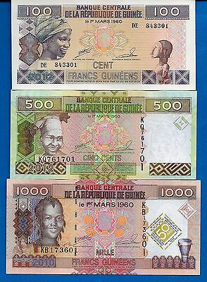 Guinea Set # 3 100,500,1000 Francs Year 2010-12 Uncirculated FREE SHIPPING