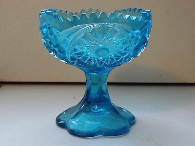 Wheaton Kemple Glass Blue Footed Compote Candy Dish Marked KW Star Burst
