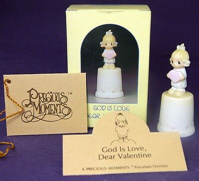 Precious Moments GOD IS LOVE THIMBLE Girl with Valentine Heart # 100625 1985 Box