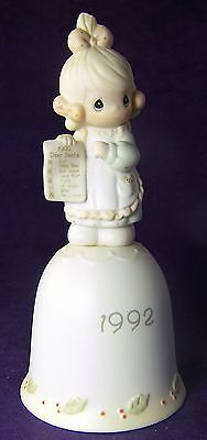 Precious Moments Bell GREATEST OF THESE IS LOVE 1992 Box Tags 527726 Girl & List