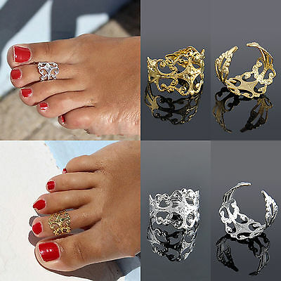 Gold/Silver 1pc Adjustable Vintage Metal Toe Ring Foot Beach Jewelry Cuff JT12