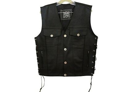 Men's Leather Buffalo Snaps Biker Motorcycle Vest Brand New #303 New All Sizes