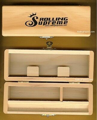 """Rolling Supreme Wood Stash Box Cigarette Rolling Paper Tray Case 6""""x2""""(T1 style)"""