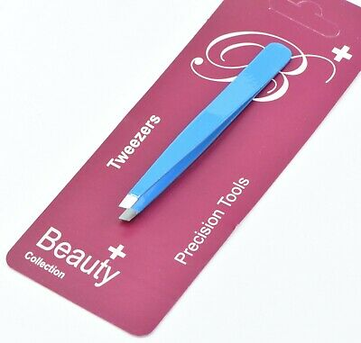 Professional Beauty Eyebrow Tweezers Slanted Tip Stainless Steel Tweezers  Blue