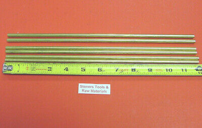 "6 Pieces of 1/4"" C360 BRASS SOLID ROUND ROD 12"" long .250"" Lathe Bar Stock"