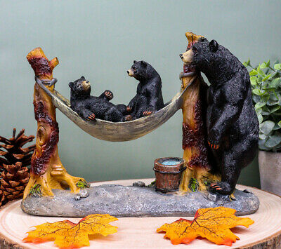 Black Mother Bear And Cubs Family On Hammock Sculpture Statue Figurine