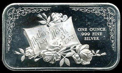 1973 Vintage Mother's Day 1 Troy Oz .999 Fine Silver Proof-Like Art Bar