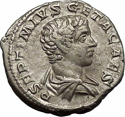 GETA  207AD Silver Rare  Ancient Roman Coin Minerva with shield Athena  i52138
