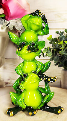 """Whimsical Acrobatic See Hear and Speak No Evil Frogs Totem Statue 5.75""""Tall"""
