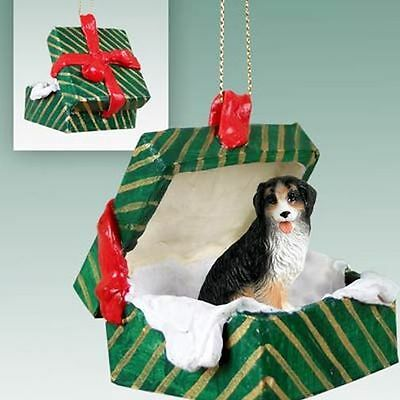 Bernese Mountian Dog Green Gift Box Holiday Christmas ORNAMENT