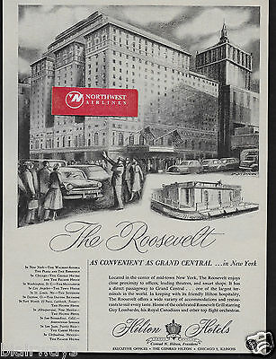 The Roosevelt Hotel New York 1952 At Grand Central Mid-Town Hilton Hotels Ad