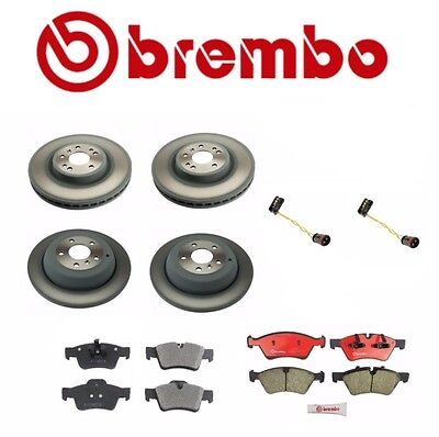 Set of 2 Front + 2 Rear Brembo Brake Disc Rotors + Pads for Mercedes