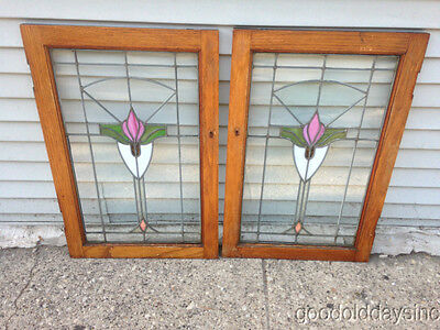 "Beautiful Pair of Stained Leaded Glass Oak Bookcase Cabinet Doors 30"" x 20"""
