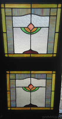 "Pair of Chicago Stained Leaded Glass Windows 24"" wide by 23"" tall"