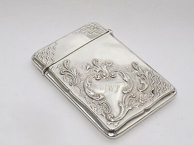 Exquisite Antique Art Nouveau Solid Sterling Silver Card Case Birmingham 1919