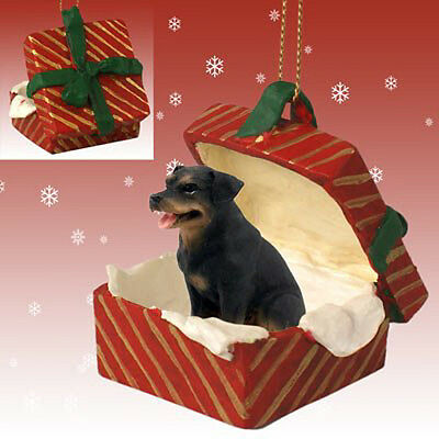 ROTTWEILER Dog RED Gift Box Holiday Christmas ORNAMENT