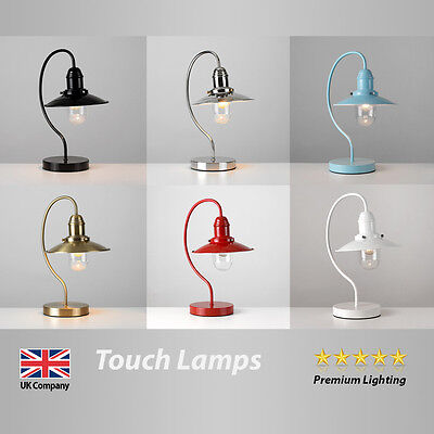 Vintage Fishermans Style Metal / Glass Arc Touch Table Lamp Lights Lamps Bedside
