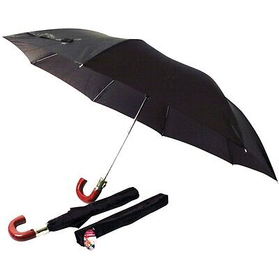 Auto Open Close Umbrella Windproof Folding Compact Telescopic Wooden Handle New